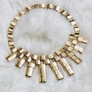 H&M Gold Link Statement Bib Geometric Necklace